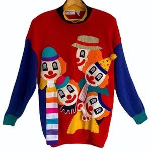 VINTAGE   Bonnie Boerer & Company clown sweater